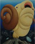 「遠い空Ⅲ」 キャンバス、アクリル絵具、162cm×130cm、2006年