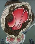 「ごちそうさま!」 キャンバス、漆喰、アクリル絵具、和紙、162cm×130cm、2005年、第14回 青木繁記念大賞公募展入選