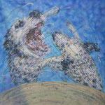 「pantomimic mind Ⅰ」 パネル、ワトソン紙、アクリル絵具、油彩転写、117cm×117cm、2010年、第23回 美浜美術展入選