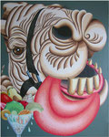 「いただきます!」 キャンバス、漆喰、アクリル絵具、162cm×130cm、2005年