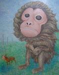 「干支物語-申-」 キャンバス、アクリル絵具、162cm×130cm、2011年