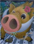 「干支物語-亥-」 キャンバス、アクリル絵具、162cm×130cm、2008年