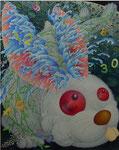 「干支物語-卯-」 キャンバス、アクリル絵具、銀箔、162cm×130cm、2007年、第 5回 池田満寿夫記念芸術賞 準入選