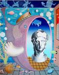 「my room」 キャンバス、アクリル絵具、砂、162cm×130cm、2001年