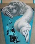 「おいでよ~」 キャンバス、漆喰、アクリル絵具、162cm×130cm、2005年、第38回 西日本美術展入選