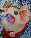 「干支物語-子-」 キャンバス、アクリル絵具、砂、162cm×130cm、2007年、第 4回 利根山光人記念大賞展 トリエンナーレ・きたかみ入選