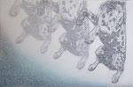 「borderline」 木版・手彩色 60.2×90.3㎝ 2013年   AOMORI PRINT トリエンナーレ2014入選