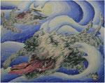 「tideⅢ」 パネル、麻紙、アクリル絵具、水性アルキド樹脂絵具、油絵具、130cm×162cm、2009年