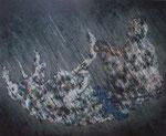 「Rainy Day」 パネル、綿布、アクリル絵具、162cm×194cm、2010年