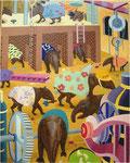 「多くの夢Ⅱ」 キャンバス、油絵具、テンペラ絵具、砂、227cm×182cm、2001年