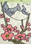 「こよみ 2月」 (12点組) 木版・手彩色 23×16㎝ 2013年