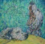 「pantomimic mind Ⅲ」 パネル、ワトソン紙、アクリル絵具、油彩転写、117cm×117cm、2010年