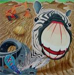 「裏返しの午後」 キャンバス、アクリル絵具、砂、162cm×162cm、2003年、第36回 西日本美術展入選