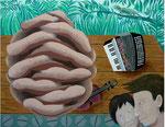「Man & Woman」 キャンバス、アクリル絵具、91cm×117cm、2001年