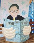 「News Paper」 キャンバス、アクリル絵具、117cm×91cm、2001年