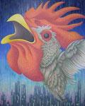 「干支物語-酉-」 キャンバス、アクリル絵具、162cm×130cm、2011年