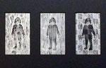 「daily piece」木版画 和紙 各12×7cm(3点組) 2015年