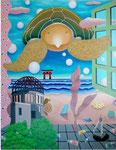 「暑い夏」 キャンバス、アクリル絵具、砂、162cm×130cm、2001年