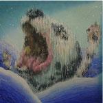 「tide Ⅰ」 パネル、麻紙、アクリル絵具、水性アルキド樹脂絵具、油絵具、91cm×91cm、2009年、前橋アートコンペライブ2010 銅賞