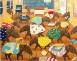 「多くの夢Ⅰ」 キャンバス、油絵具、テンペラ絵具、砂、182cm×227cm、2001年、福岡舞鶴高等学校所蔵