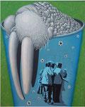 「いい湯だなぁ~」 キャンバス、漆喰、アクリル絵具、162cm×130cm、2005年、第18回 柳川市総合美術展 大賞