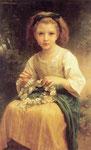Child braiding a crown