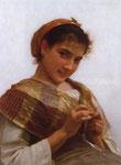 Young girl crocheting