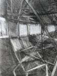 gotische reflectie - houtskool, 45 x 65