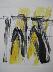 brooklyn bridge - monotype, 25 x 30