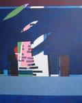 kleur gevangen in blauw - acryl op doek, 120 x 140