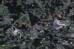 Weg des Grossgerätetransports (2 Es 3750, 1 ERs 710 und 1 SRs 1301) von Klettwitz über 45 km nach Welzow im März 1994
