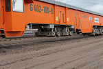 Rückewerkzeug der Gleisrückmaschine. Verschiebt (rückt) die Gleise pro Arbeitsgang um 60 cm, insgesamt um 10m