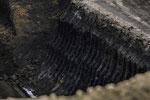 2. Lausitzer Braunkohleflöz mit einer Stärke von 10-16m (28. Sept. 2017) Das 1. Flöz in 30 m Tiefe wird umgelagert, nicht abgebaut