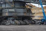 Raupenfahrwerk des Schaufelradbaggers SRs 6300-1519