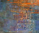 Durchblick gebeizte Papiere, Acryl auf Leinwand, 60x50cm