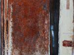 Rost,  2012,  Acryl, Pigmente, Kreide, Lack auf Leinwand, 100 x 120 cm