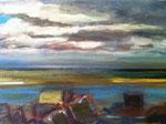 DETAIL VUE DE ST VALERY SUR SOMME, Huile sur bois 15x57 cm/2015