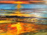 COUCHER DE SOLEIL SUR LA BAIE DE SOMME, Huile sur bois 32x54 cm/2015