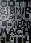 1000 Geduldsstriche   70 x 50 cm   Acryl und weiße Tusche auf Leinwand