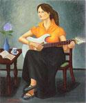 井上 義昭  ギターを弾く少女 F20