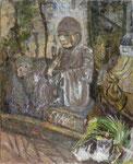 古武 栄子  羅漢・石像 F15