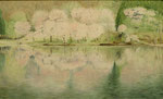 末田一博  湖畔の春  M80 水彩