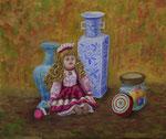 61 小品 石川 俊雄 人形と花瓶 F10 油彩