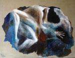 Fusion 130 x 97 tempéra sur monotypes marrouflés sur  toile brute