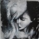 Derrière le masque 60 x 60 tempéra sur monotypes marrouflés sur toile de lin brute