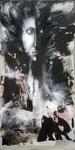 Klesha 80 x 60 tempéra sur monotypes marrouflés sur toile de lin brute