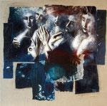symphonie V 100 x 100 tempéra sur monotypes marrouflés sur toile brute