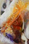35 x 24 COLLECTION PRIVEE tempéra sur monotypes marrouflés sur toile de lin brute