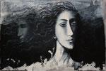 La conscience ou double vue 54 x 81 tempéra sur monotpes marrouflés sur toile de lin brute