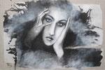 Pensées entre les mains 54 x 81 tempéra sur monotypes marrouflés sur toile de lin brute
